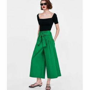 Zara paperbag palazzo crop pants